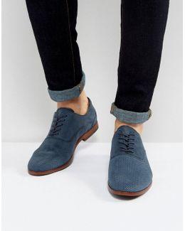 Coallan Derby Shoes In Blue Suede