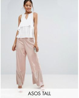 Occasion Wide Leg Pants With Pleated Plisse Hem