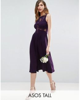 Wedding Lace Jersey Pleated Midi Dress