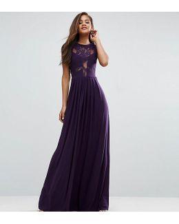 Wedding Lace Jersey Pleated Maxi Dress