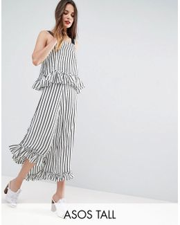 Maxi Dress With Ruffle Detail & Grosgrain Straps In Mono Stripe