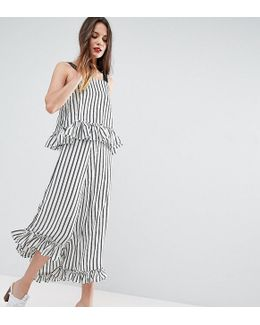 Maxi Dress With Ruffle Detail & Grosgrain Straps In Mono Stripe