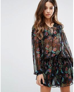 Tiered Skirt Printed Dress