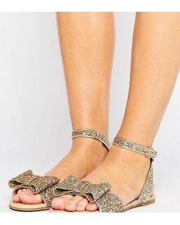 Fair Lady Wide Fit Bow Flat Sandals