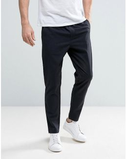 Cropped Tapered Pant With Elasticated Waist In Check