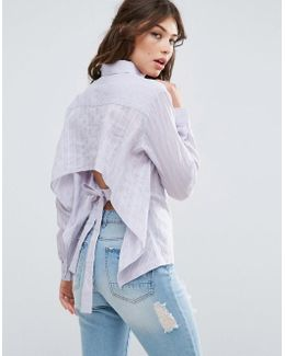 Shirt In Embroidered Stripe With Bow Back