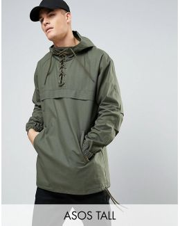Tall Overhead Windbreaker With Lace Up Detail In Khaki