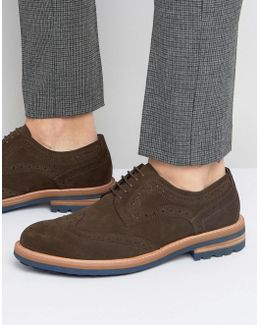 Blind Side Suede Derby Brogue Shoes