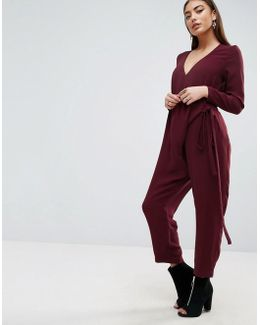 Jumpsuit With Wrap And Self Tie Detail With Long Sleeve