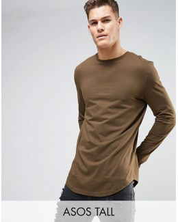 Tall Super Longline Long Sleeve T-shirt With Curved Hem In Brown