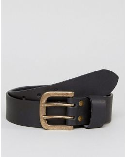 Wide Leather Belt With Double Prong In Black