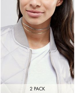 Pack Of 2 Chain Choker Necklaces
