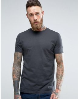 T-shirt With In Washed Black With Crew Neck