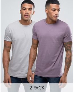 2 Pack T-shirt In Grey/purple Save