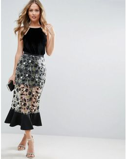 Midi Column Skirt With Dark Floral Embroidery