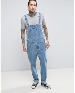 Denim Overalls In Mid Blue Wash