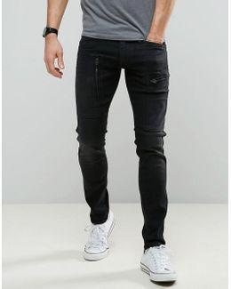 Powel Super Slim Jeans Dark Aged Black Cargo Zip Pocket