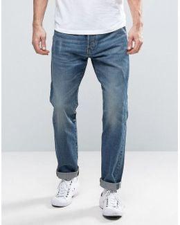 Riban Tapered Jeans Pocket Detail Medium Aged Blue Wash