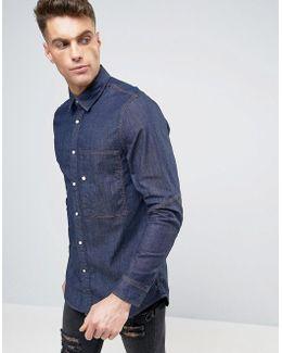 Stalt Denim Slim Fit Shirt Long Sleeve