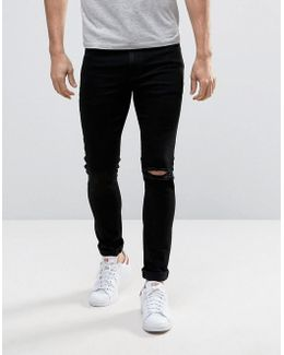 Super Skinny Jeans With Single Busted Knee Rip In Black