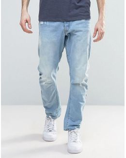 Type C 3d Tapered Jeans Light Aged Destroyed Wash
