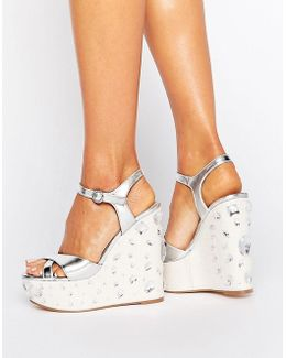 Tidal Wave Jewelled Wedge Sandals