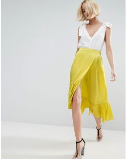 Skirt In Satin With Ruffle Hem