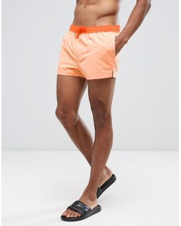 Swim Shorts In Orange With Contrast Waistband & Drawcord Super Short Length