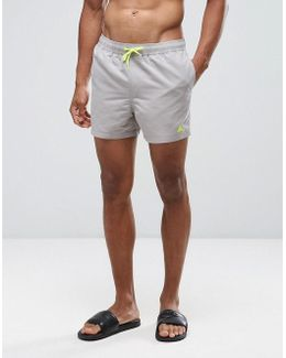 Swim Shorts In Stone With Neon Yellow Triangle Logo Short Length