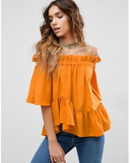 Off Shoulder Top With Asymmetric Ruffle Hem