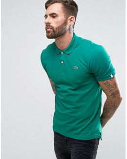 Pique Polo Small Croc Logo Slim Fit In Green