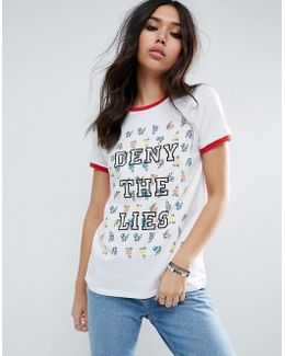 T-shirt With Ditsy Floral & Deny The Lies Slogan