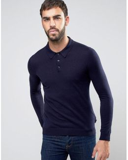 Knitted Long Sleeve Polo