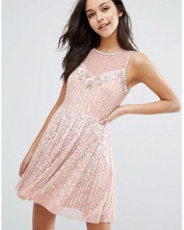 Premium Embellished Skater Dress