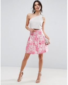 High Waisted Mini Skirt In Pink Jacquard