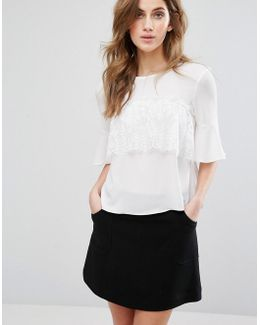 Lace Ruffle Front Tee