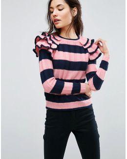 Ruffle Sleeve Sweater In Stripe