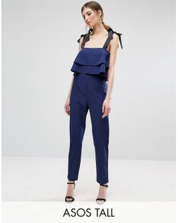 Jumpsuit With Double Ruffle And Contrast Grosgrain Tie