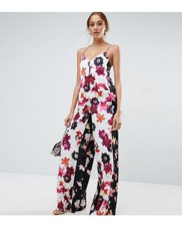 Satin Jumpsuit In Mixed Blurred Floral Print