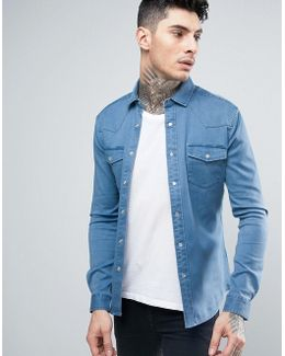 Skinny Western Denim Shirt In Light Wash