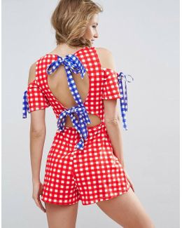 Jersey Bow Back Playsuit In Gingham