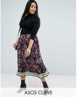 Pleated Midi Border Print Skirt