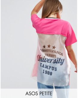 T-shirt With Cut About Varsity Print