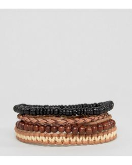 Bead And Braid Leather Bracelet Pack