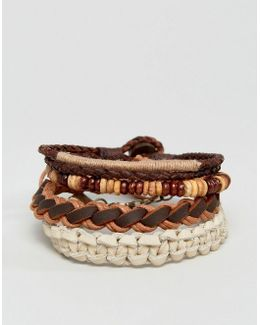Leather Bracelet Pack In Khaki And Brown