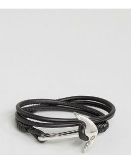 Anchor Leather Wrap Bracelet In Black Exclusive To Asos