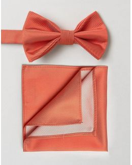 Wedding Bow Tie And Pocket Square Pack In Pink