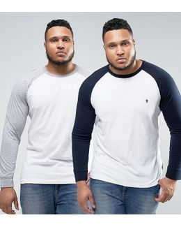 Plus 2 Pack Contrast Raglan Long Sleeve T-shirt
