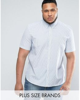 Plus Cotton Striped Shirt With Short Sleeves