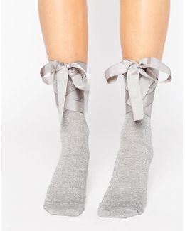 Glitter Bow Strap Ankle Socks